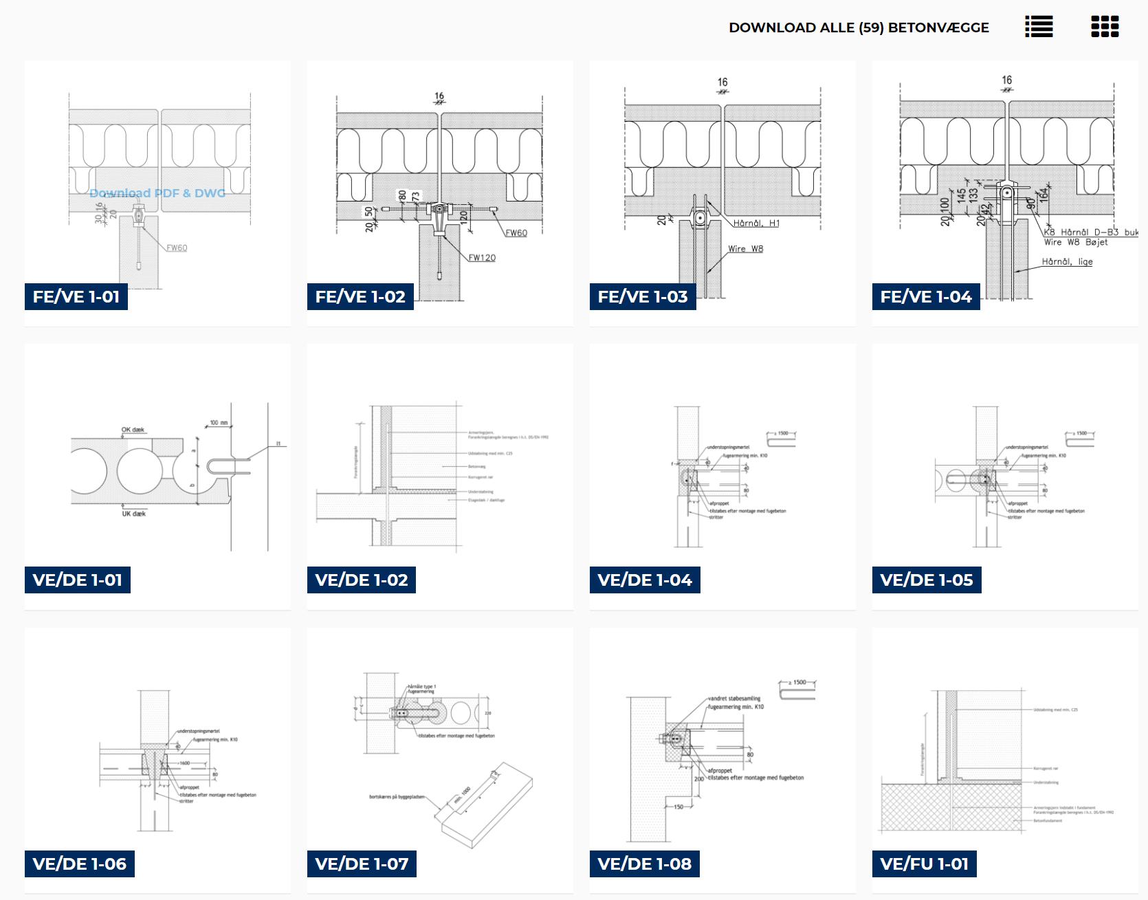 Samlingsdetaljer betonelementer